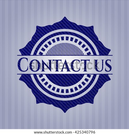Contact us emblem with jean texture
