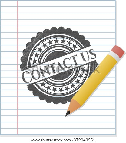 Contact us emblem with pencil effect