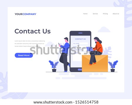 Contact Us flat vector illustration concept,can be used for landing page, ui, web, app intro card, editorial, flyer, and banner.
