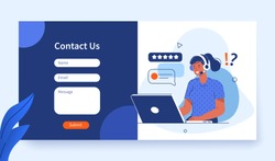Contact Us Form Template for Web and Landing Page. Female Customer Service Agent with Headsets Talking with Client. Online Customer Support and Helpdesk Concept. Flat Cartoon Vector Illustration.