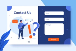 Contact Us Form Template for Web and Landing Page. Male Customer Service Agent Talking with Client and Suggest Help. Online Customer Support and Helpdesk Concept. Flat Cartoon Vector Illustration.