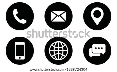 Contact us icon set. collection Communication icon. vector illustration