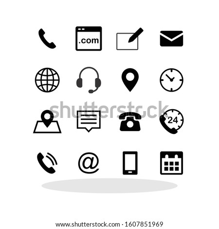 Contact us icon set in trendy flat style. Communication symbol set for your web site design, logo, app, UI Vector EPS 10.