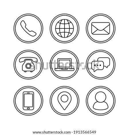 Contact us icon set , Phone symbol, Communication and website line icon vector illustration.