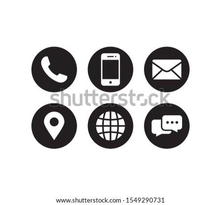 Contact us icon set vector. Bundle of set icon