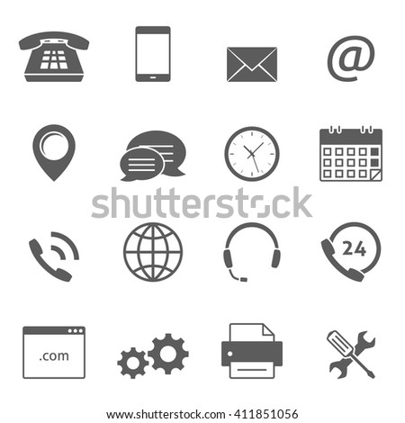 Contact us icons Photo stock ©