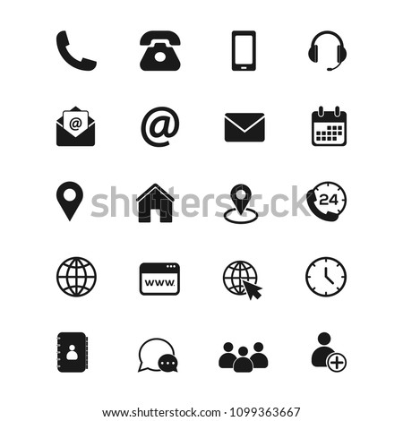 Contact us icons. Phone, smartphone, email. location, house, globe, adress, chat. Simple vector icons set on white background. Vector illustration