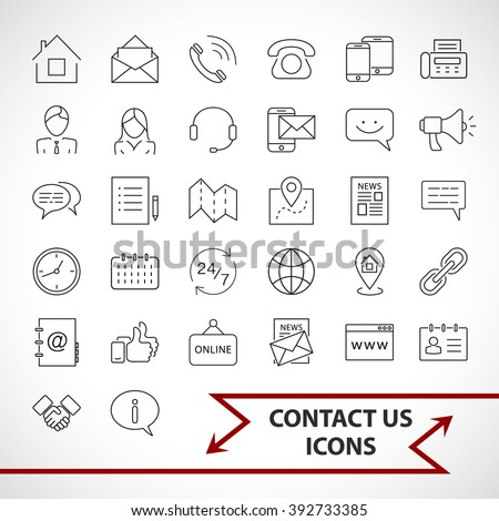 Contact us icons set isolated on white background.  Photo stock ©