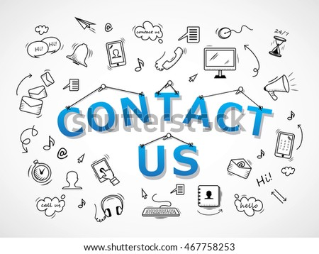 Contact Us Icons Set - Isolated On White Background-Vector Illustration, Graphic Design. For Web,Websites,Magazine Page,Print, App, Presentation Templates And Promotional Materials