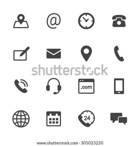 Contact us icons. Simple flat vector icons set on white background