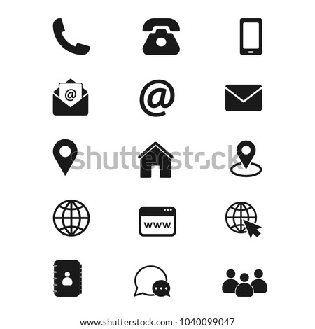 Contact us icons. Simple vector icons set on white background. Phone, smartphone, email, location, house, globe, address, chat.