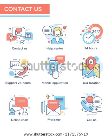 Contact us icons, thin line color set, flat design