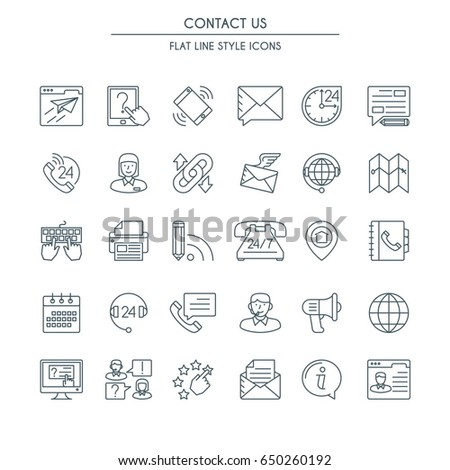 Contact us icons thin line set. Modern icons on theme customer service and support. #650260192