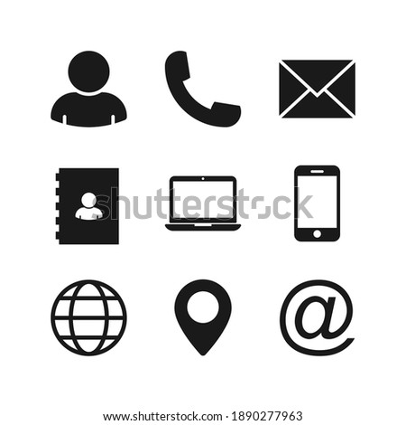 Contact us icons. vector illustration. Color editable