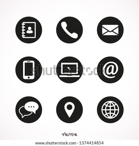 Contact us icons. Web icon set