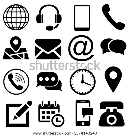 Contact us icons. Web icon set. call, phone, mail, email, laptop, web, address, chat, map pin.