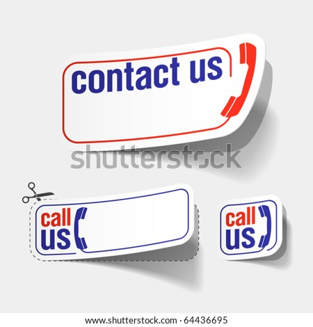 Contact us labels. Vector.