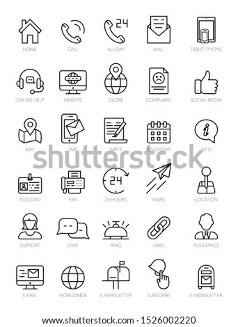 Contact us line icon set on white background. Call center, online consultation, customer support service, helpline, phone tech desk, mailing and chatting symbols for mobile concept, web, app, UI.