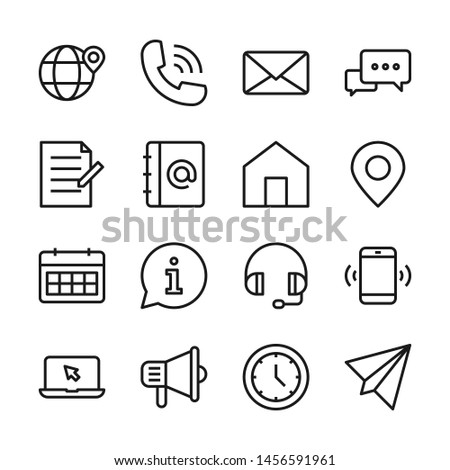 Contact us line icons set vector illustration