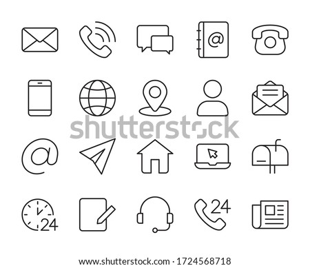 Contact us line icons set vector illustration. editable stroke