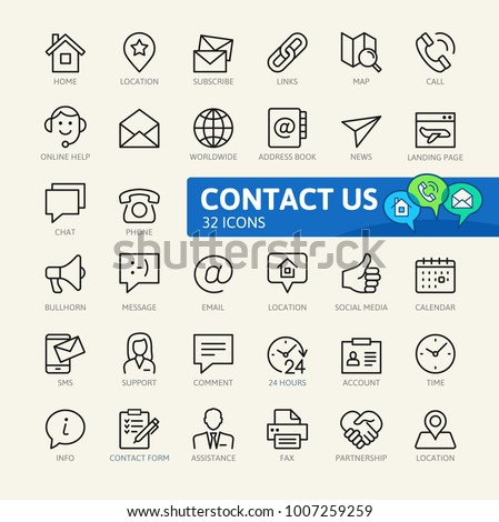 Contact us -  minimal thin line web icon set. Outline icons collection. Simple vector illustration. #1007259259
