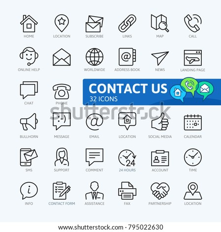 Contact us -  minimal thin line web icon set. Outline icons collection. Simple vector illustration. #795022630
