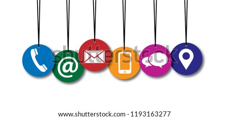 Contact us or call us symbols Social Media network icons for busines communication Marketing chatting or messenger, whatsapp, mail, chat, talk Funny vector mobile share about connect School phone idea