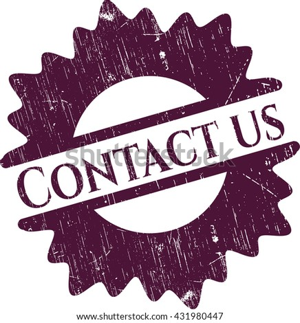 Contact us rubber stamp with grunge texture