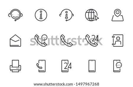 Contact us service support icons set outline style