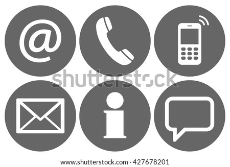 Contact Us, set of six white icons in gray circles