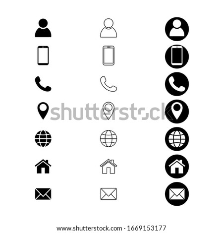 Contact us signs. Location and contact icons. Simple symbols. Vector illustration. EPS 10
