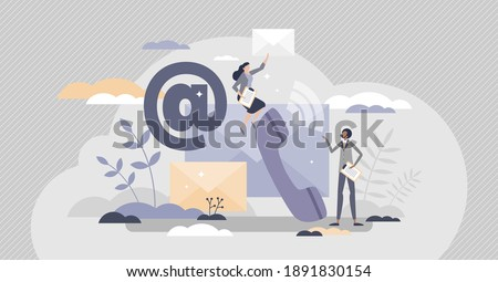 Contact us support as customer care service call or email tiny person concept. Phone or mail letter communication form as information sending for assistance, help or question vector illustration. Stock photo ©