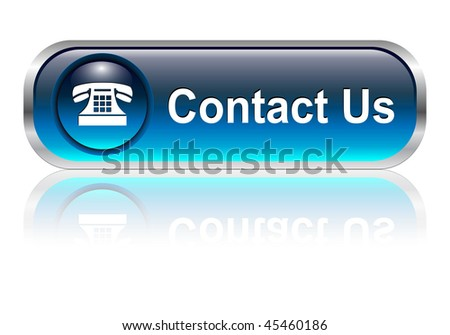 Contact us, telephone icon, button, blue glossy with shadow - stock vector