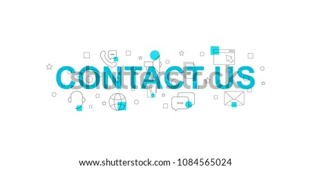 Contact us vector banner. Word with line icon. Vector background