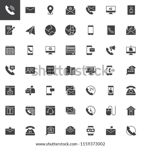 Contact us vector icons set, modern solid symbol collection, filled style pictogram pack. Signs, logo illustration. Set includes icons as Phone Call, Email, Location pin, contact book, Calendar