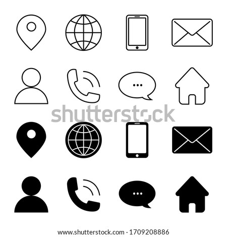 Contact Us Vector Line Icons Set. Call, Contact, Email, Message and more. Contact us icons. Web icon set