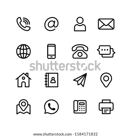 Contact Us Vector Line Icons Set. Call, Contact, Email, Message and more. 48x48 Pixel Perfect.
