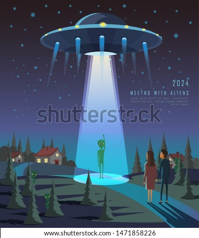 contact with ufo flat banner