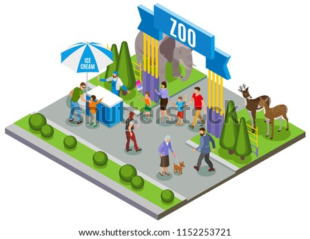 Contact zoo isometric composition with outdoor view of main entrance gate of zoo with ice cream vector illustration