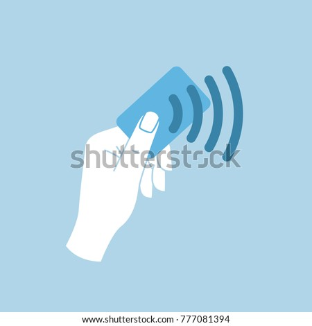 Contactless card sign. Plastic credit card technology for contactless payment. NFT system for simle shopping.  Wireless contact less card image. Simple flat vector illustration icon