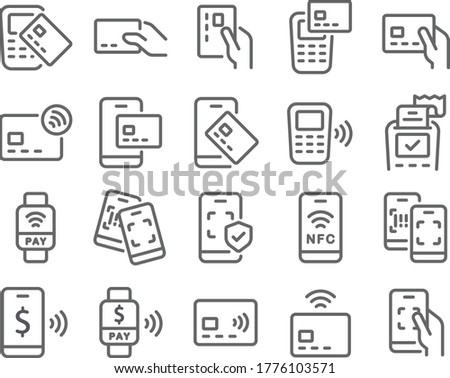 Contactless cashless society icon set vector illustration. Contains such icon as Scan QR code, NFC, Credit Card, Barcode, POS, Security Protection and more. Expanded Stroke