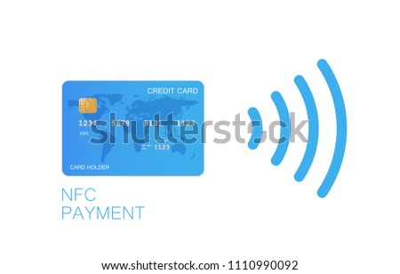 Contactless credit card icon, card with radio wave outside sign, credit card payment, isolated icon, vector illustration