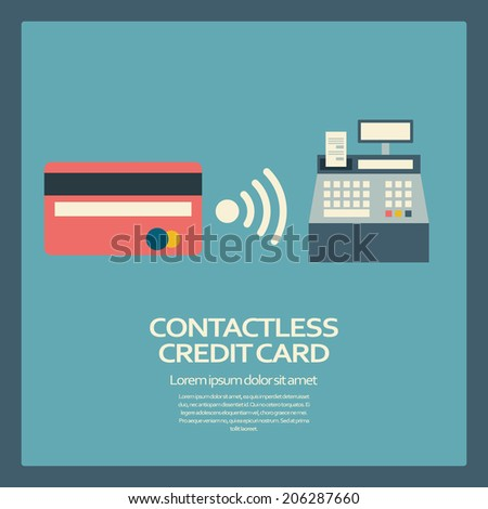 Contactless credit card payment concept. Eps10 vector illustration.