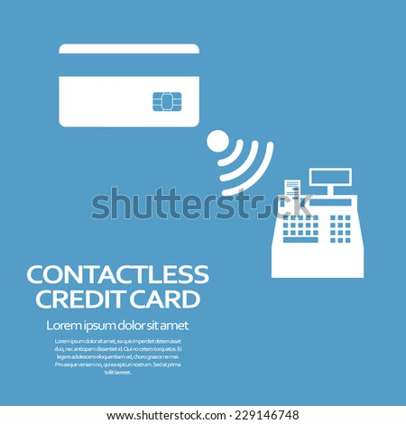 Contactless credit card payment concept. Modern technology advertisement. Eps10 vector illustration