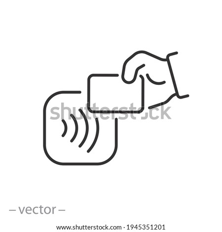 contactless payment card icon, nfc, wireless pay, cashless rfid, credit pos, linear sign isolated on white background - editable illustration eps10