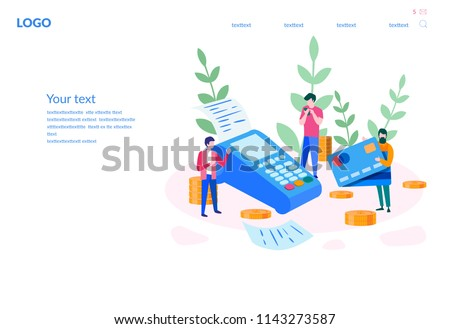 Contactless payment concept for web page, presentation, social media. Vector illustration terminal and credit card, online banking, Mobile payment, POS terminal confirm, NFC payment,money transferring
