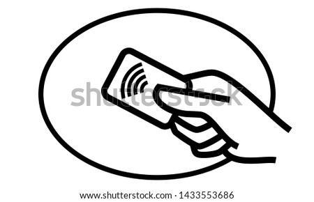 Contactless payment credit card and hand tap vector logo. NFC contactless pay wave and pay pass POS terminal line icon