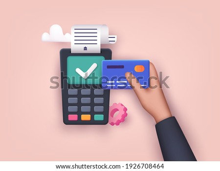 Contactless payment. Male hand holding credit card. Illustration of wireless mobile payment by credit card. 3D Vector Illustrations.