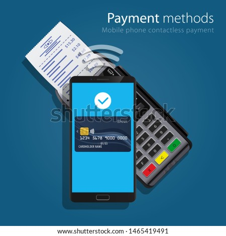 Contactless Payment Methods Mobile smart phone and wireless POS Terminal realistic style icons. Design concept of process contact less payments. Vector illustration