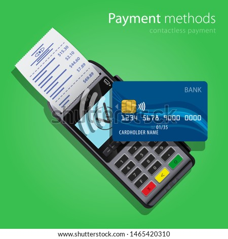 Contactless Payment Methods wireless POS Terminal and bank credit card realistic style icons. Design concept of process contact less payments. Vector illustration